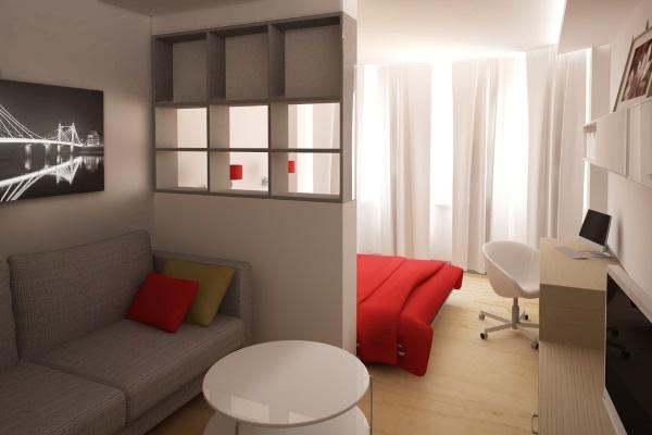 Современный дизайн однокомнатной квартиры 30 кв.м