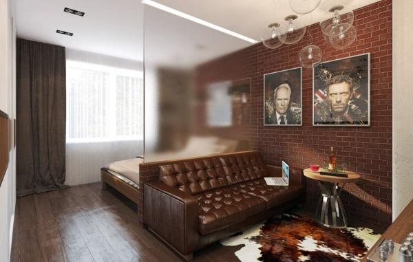 Модный дизайн однокомнатной квартиры 30 м