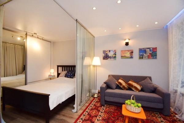 Дизайн однокомнатной квартиры 30 кв.м для семьи с ребёнком фото
