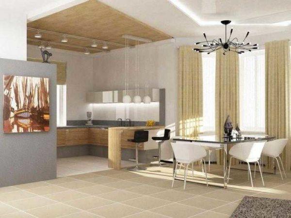 дизайн гостиной в доме - зонирование помещения