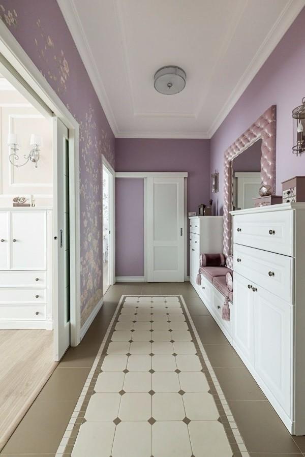 Фиолетовые обои в коридоре дизайн фото