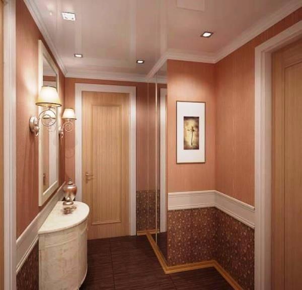 Комбинированные обои для коридора в квартире фото 1