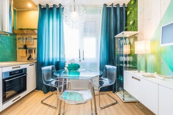 Тюль и шторы на люверсах для кухни - фото в интерьере