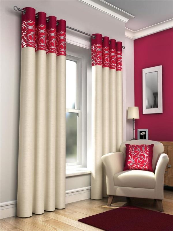 Дизайн штор на люверсах двух цветов