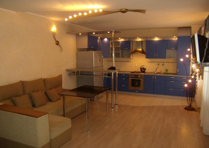 Кухня студия с барной стойкой фото 2