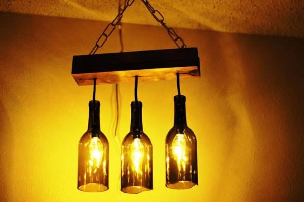 Подвесной светильник из бутылки своими руками