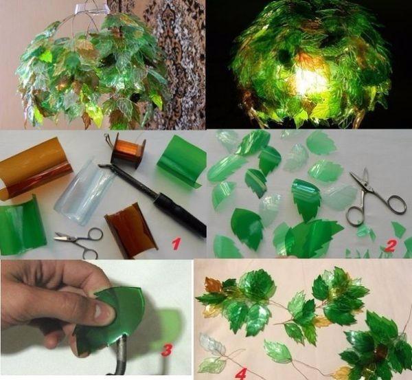 Процесс работы над светильником из пластковой бутылки