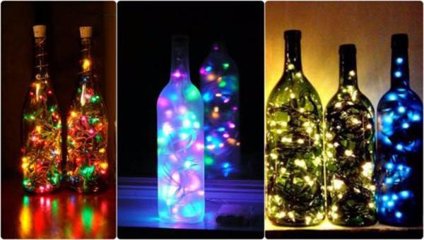 Светильник из стеклянной бутылки
