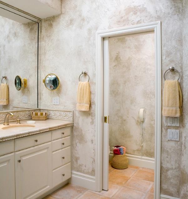 Красивая венецианская штукатурка в ванной фото