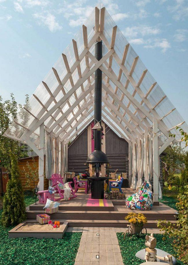 Арочная веранда пристроенная к дому