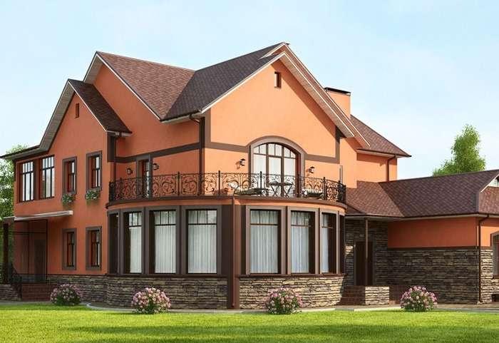 Фасад частного дома отделанный короедом, фото 18
