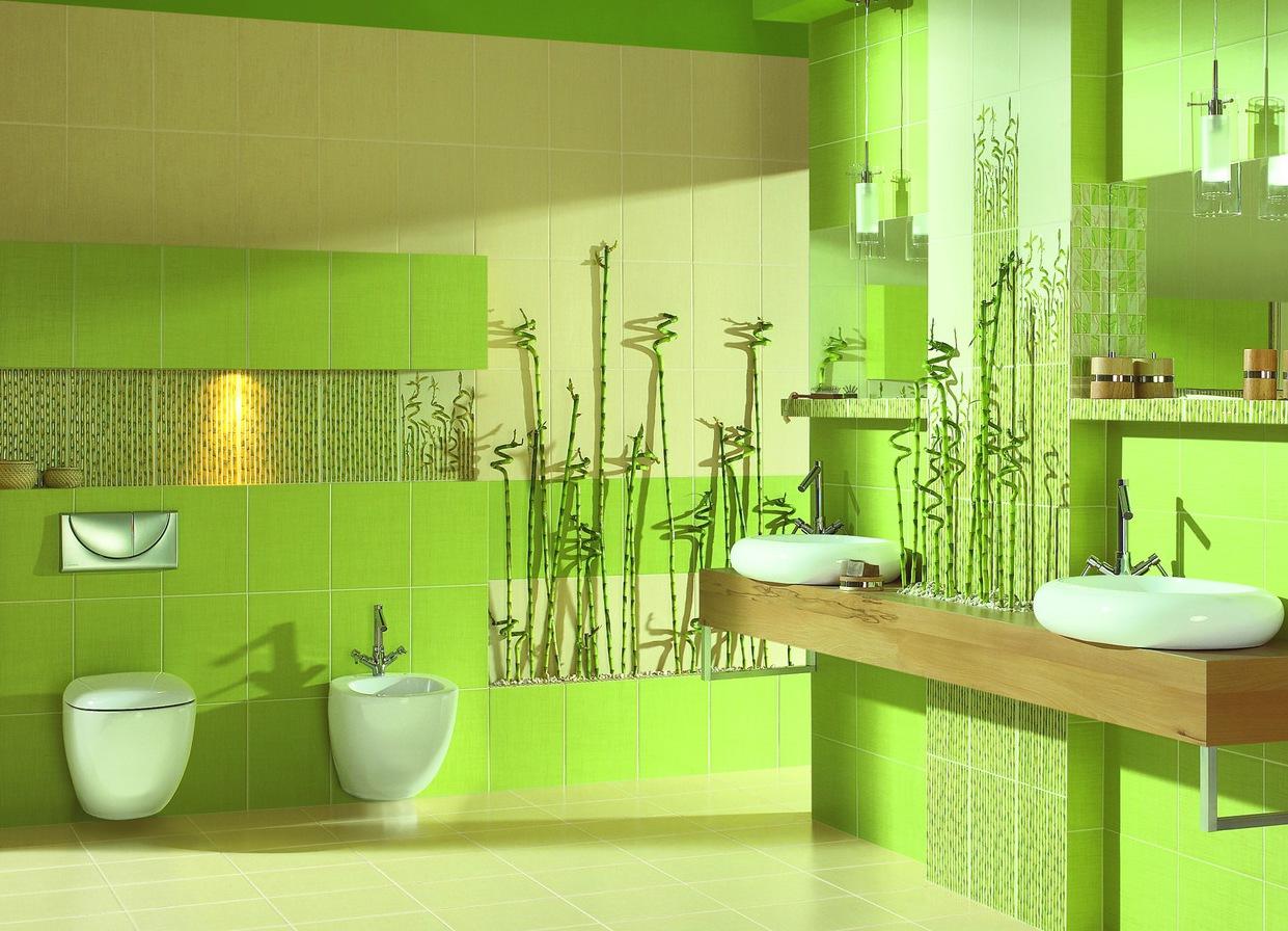 Дизайн плитки в туалете в зелёных цветах