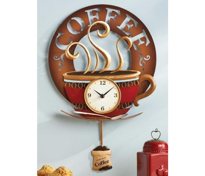 Настенные часы в интерьере кухни - кофе
