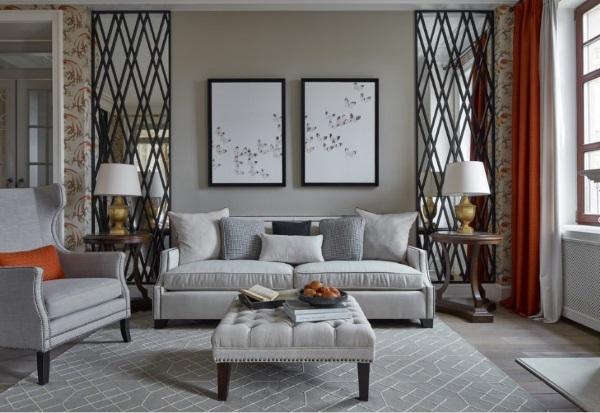 Дизайн квартиры фото зала 18 кв м американская классика