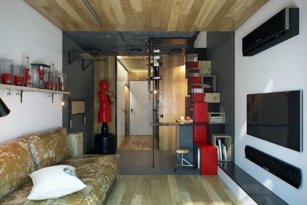 Стильный дизайн квартиры фото зала 18 кв м