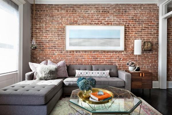 Дизайн квартиры фото зала 18 кв м с кирпичной стеной