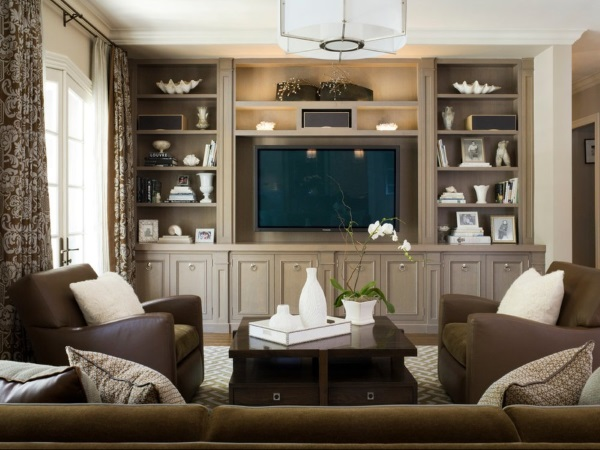 Классический дизайн зала 18 кв м в коричневых тонах фото 5