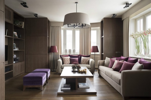 Дизайн зала в квартире в тёмных тонах фото 2
