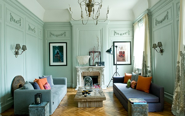 Дизайн квартиры зал 18 м в смешанном стиле фото