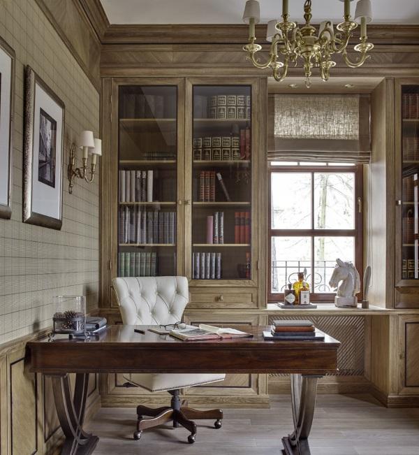 Дизайн кабинета в квартире в американском стиле фото 3