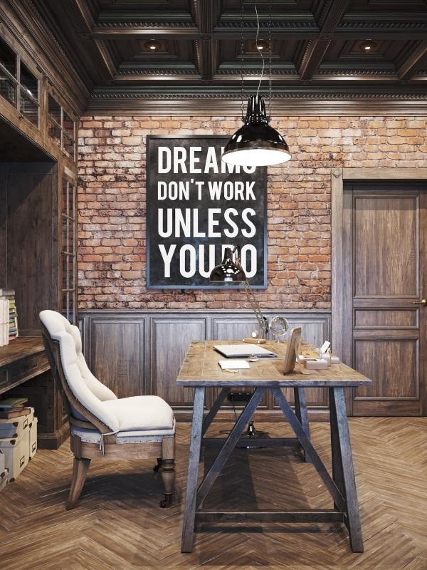 Дизайн кабинета в квартире в стиле лофт фото 4