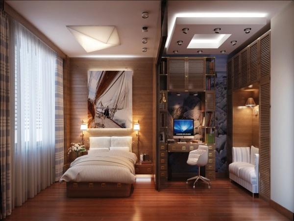 Кабинет в однокомнатной квартире фото 3