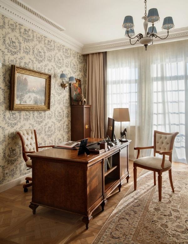 Классический дизайн кабинета в квартире фото 6