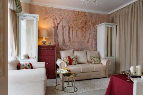 Дизайн квартиры зал 18 м в классическо стиле фото