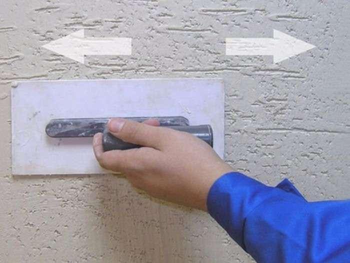 Приемы нанесения штукатурки короед