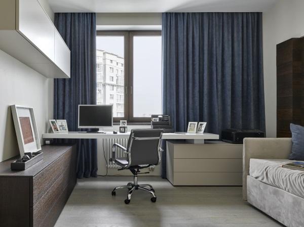 Рабочий кабинет в однокомнатной квартире фото