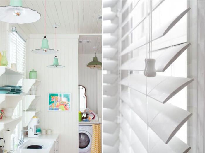 Белые жалюзи на кухню фото