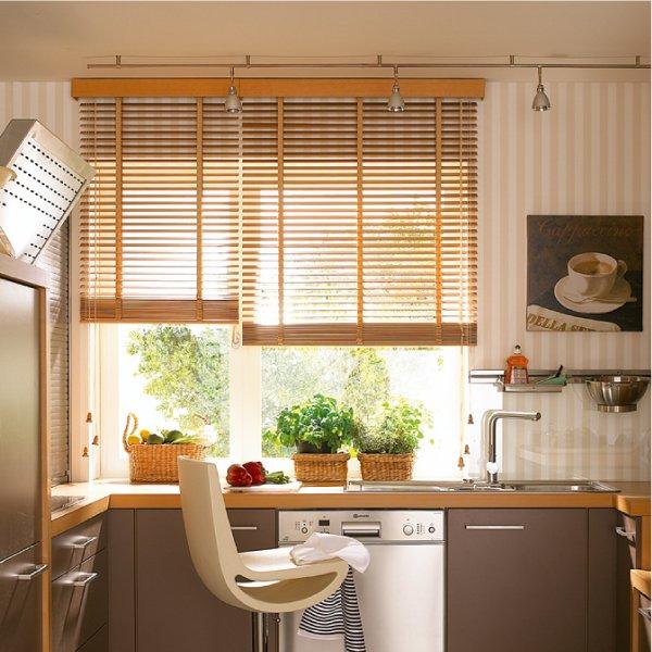 Жалюзи на кухню в коричневых тонах фото