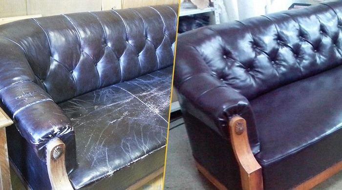Перетяжка мягкой мебели до и после, фото 11