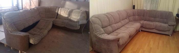 Перетяжка мягкой мебели до и после, фото 17