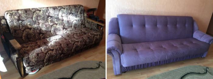 Перетяжка мягкой мебели до и после, фото 19
