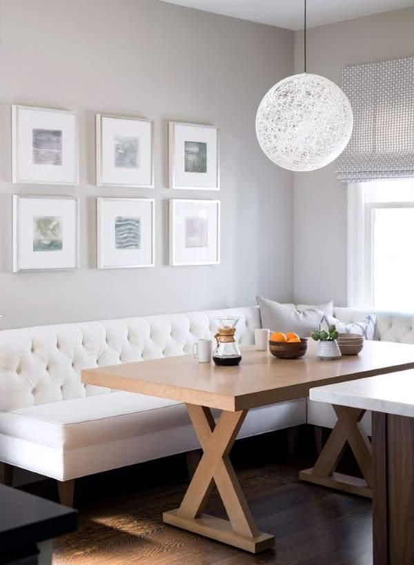 белый угловой диван на кухню