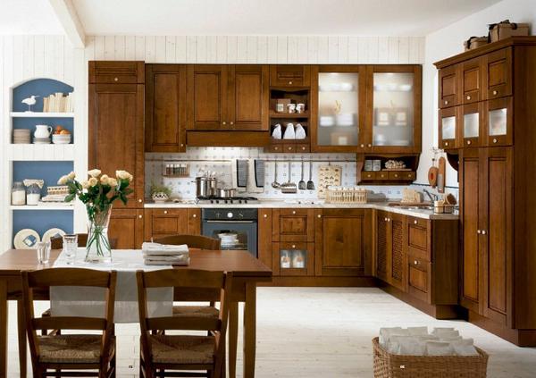 кухни из массива дерева ольха
