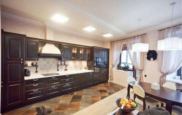 дизайн кухни гостиной, покрытия и мебель фото 10