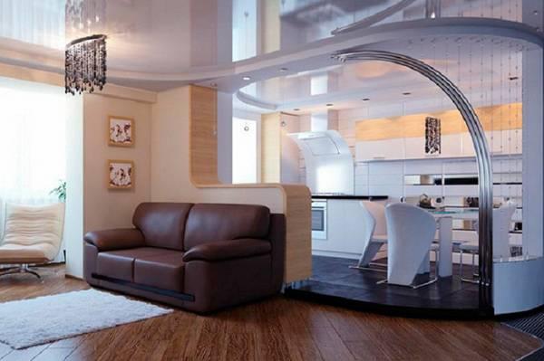 дизайн кухни гостиной, покрытия и мебель фото 11