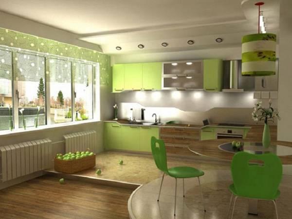 дизайн кухни гостиной, покрытия и мебель фото 12