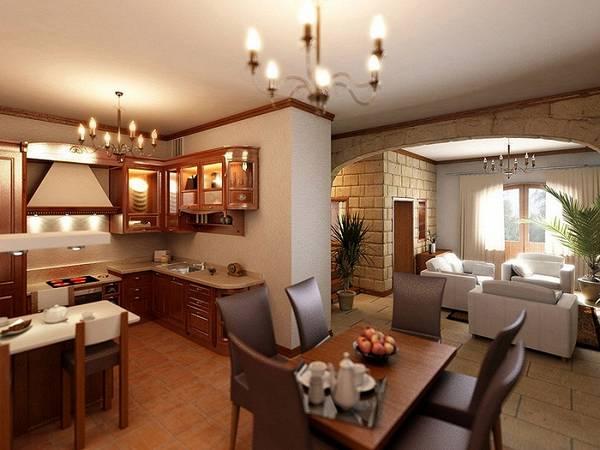 дизайн кухни гостиной в частном доме, фото 30