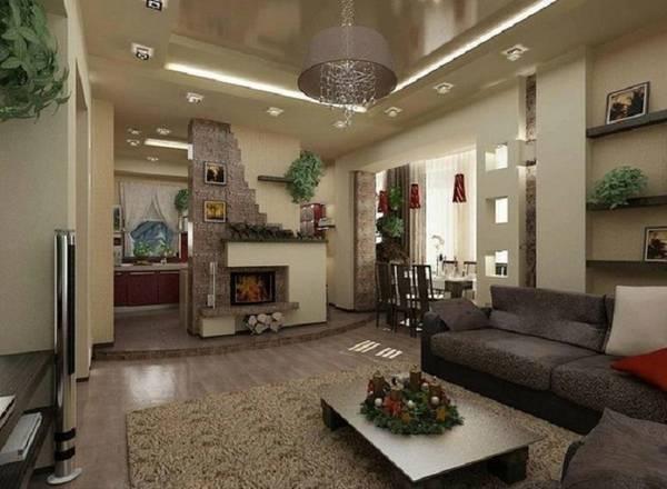 дизайн кухни гостиной в частном доме, фото 32