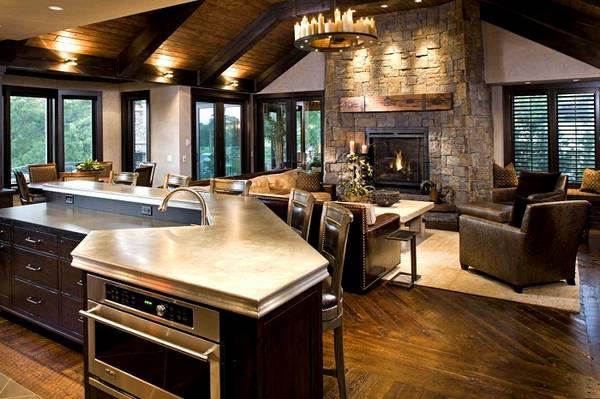 дизайн кухни гостиной в частном доме, фото 36