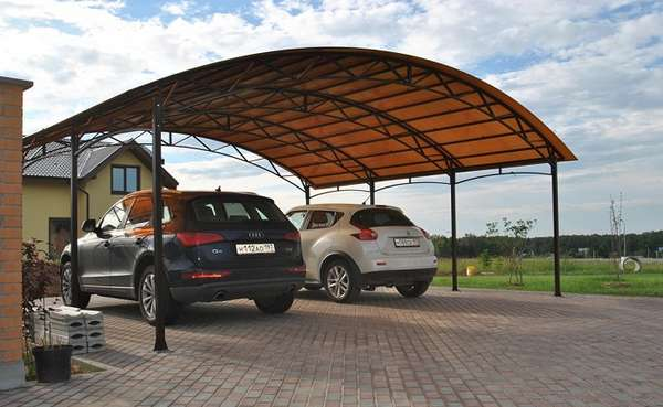 Фигурные навесы для автомобилей из поликарбоната, фото 1