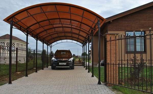 Фигурные навесы для автомобилей из поликарбоната, фото 3