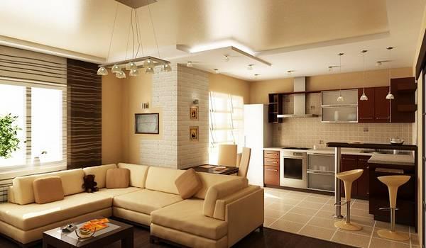 дизайн кухни гостиной, покрытия и мебель фото 13