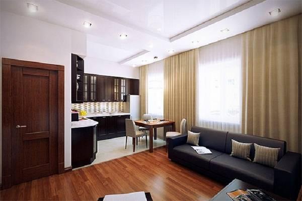дизайн кухни гостиной, покрытия и мебель фото 14