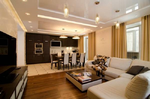 дизайн кухни гостиной, покрытия и мебель фото 15
