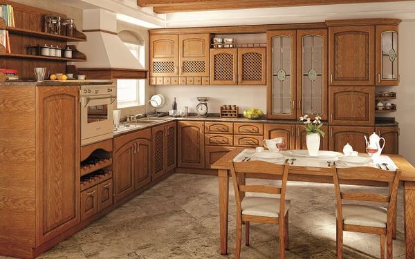 кухни из массива дерева дуб