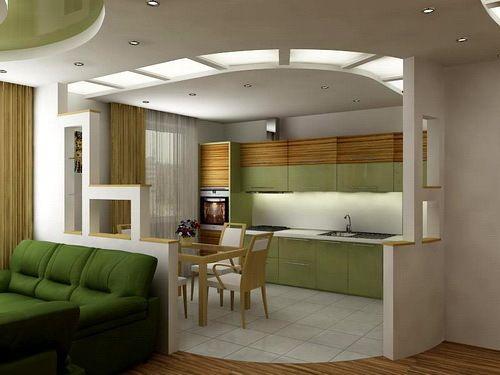 кухня гостиная с зонированием, фото 28